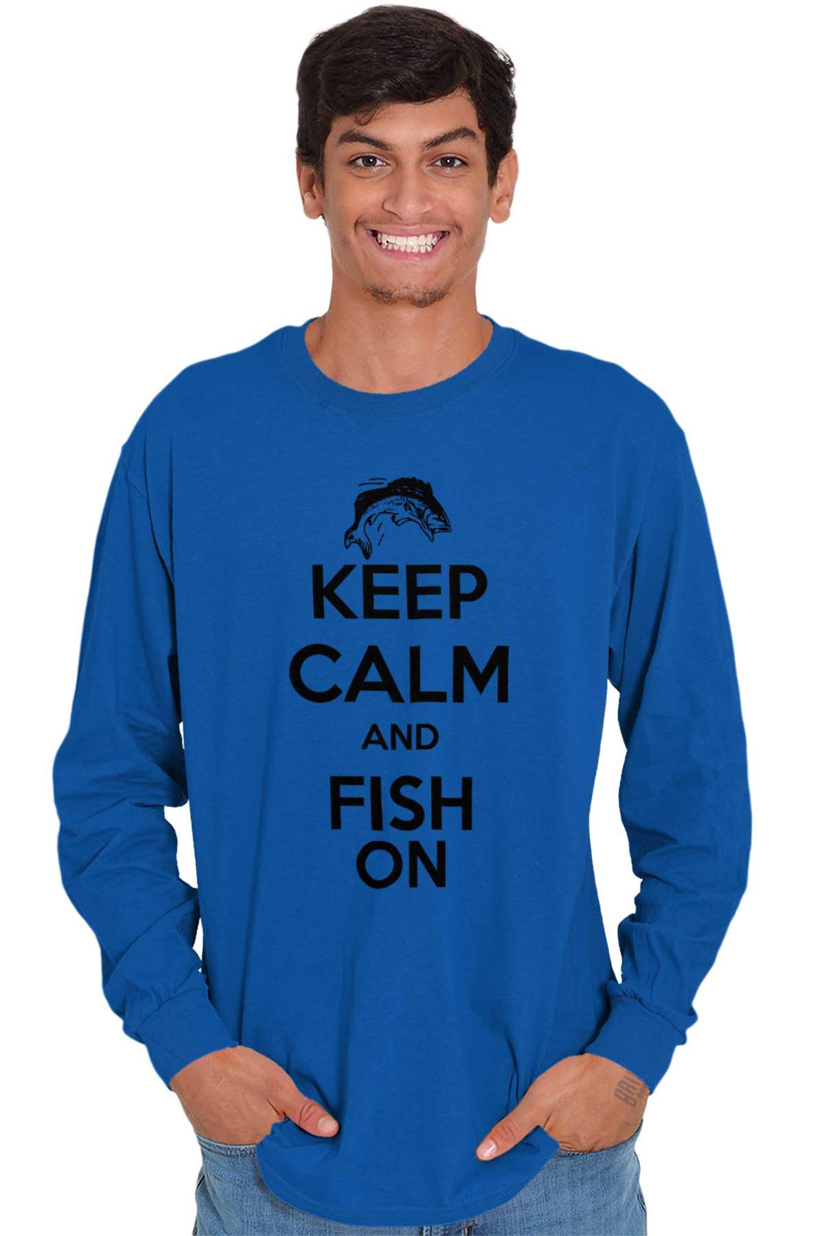 Mens Keep Calm And Fish On T Shirt Funny Tshirt Fisherman Tee Going Fishing
