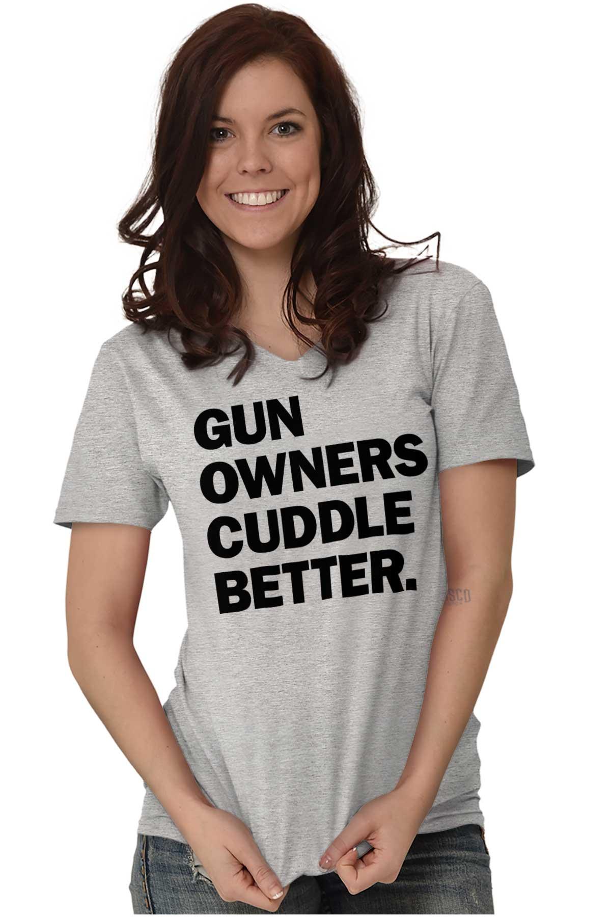 Gun Owners Cuddle Better USA Shirt2nd Amendment Gun Flag Junior Fit V-Neck T