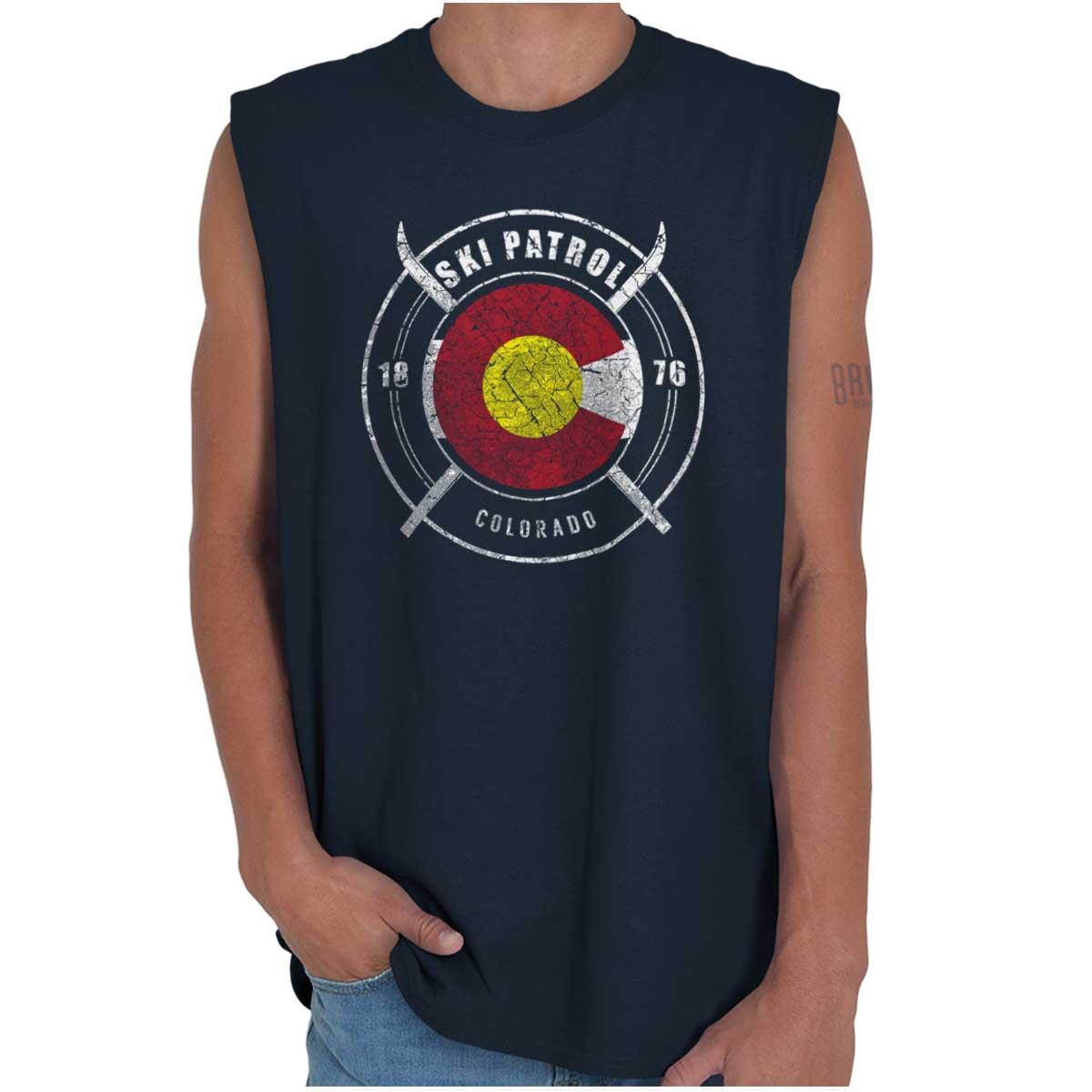 Colorado CO Ski Patrol V-neck Tee Top Skiing Sports America USA T Shirt V neck