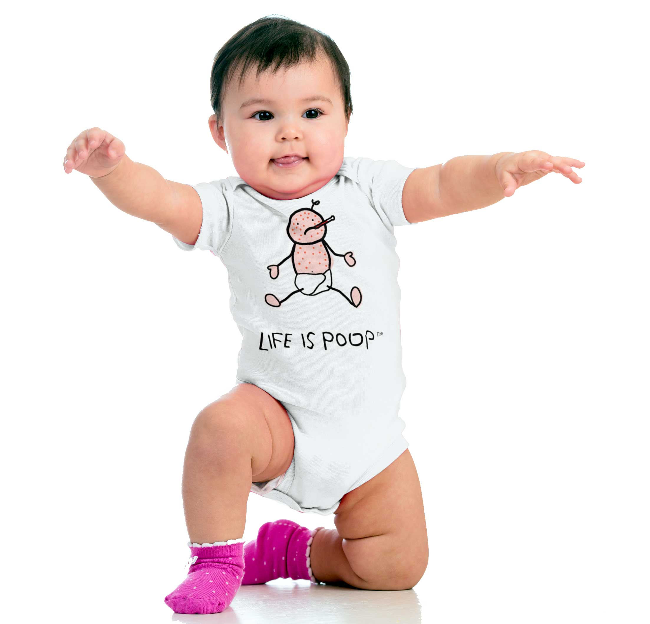 Life is Poop Chicken Pox Funny Cool Cute Gift Baby Gift Edgy Romper Bodysuit