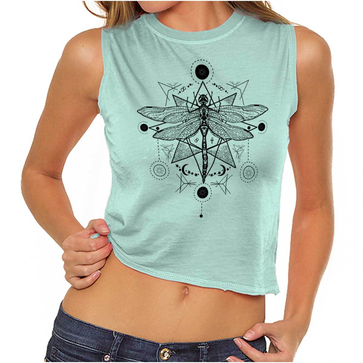 Dragonfly Sun Spiritual Animal Mystical Celestial Meaning Muscle T-Shirt Tee