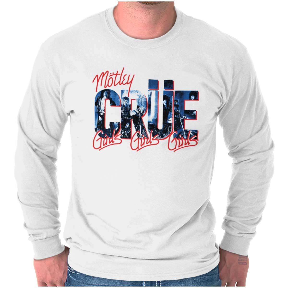 glam metal /'Girls Girls Girls/' vintage tour shirt 1987 M\u00f6tley Cr\u00fce crop top hoodie ladies heavy metal longsleeve top
